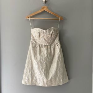 American Eagle Gold Brocade Strapless Dress Size 6